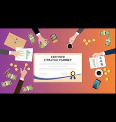 Certified financial planner certification paper vector