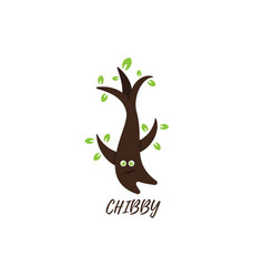 chibby tree character cartoon logo design vector image