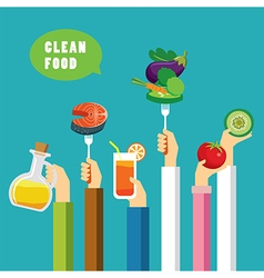 clean food concept flat design vector image