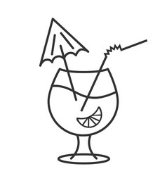 Cocktail glass icon alcoholic drink with vector