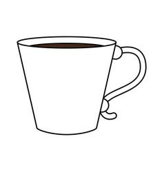 Color silhouette image cartoon porcelain mug of vector
