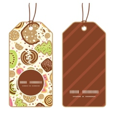 colorful cookies vertical round frame pattern tags vector image