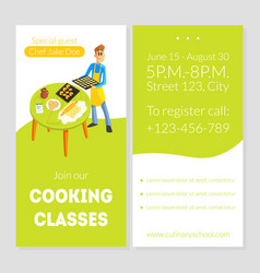 cooking classes card template culinary school vector image