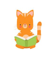 Cute red cat reading book adorable smart pet vector