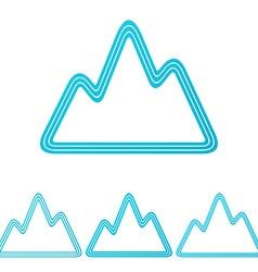 Cyan line mountain logo design set vector