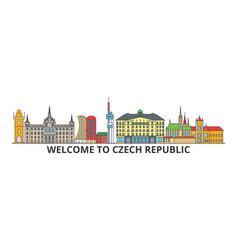 czech republic outline skyline czech flat thin vector image