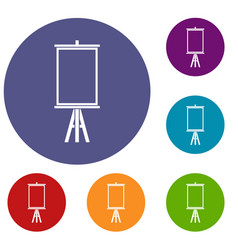 Easel icons set vector