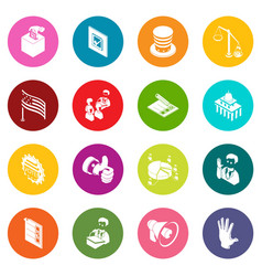 Election voting icons set colorful circles vector