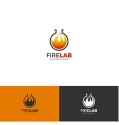 Fire lab logo template vector
