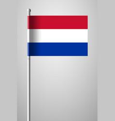 Flag of netherlands national flag on flagpole vector