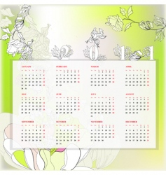 floral template for calendar 2011 vector image