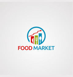 Food market logo icon element and template for vector