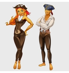 Girl pirate and captain two cartoon characters vector