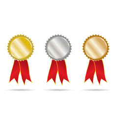 gold silver and bronce ribbons vector image