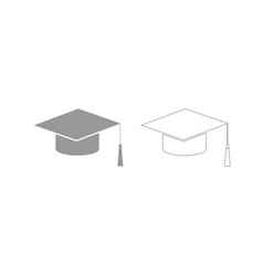 graduation cap grey set icon vector image
