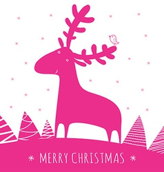 greeting christmass card with deer vector image