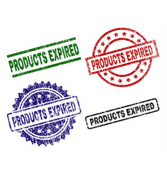 Grunge textured products expired stamp seals vector