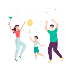 happy cartoon family jumping in celebration vector image