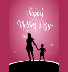 Happy mother day silhouette woman with child vector