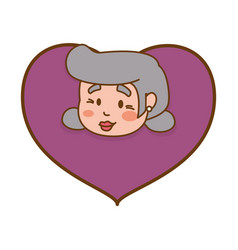 heart grandmother elder head vector image