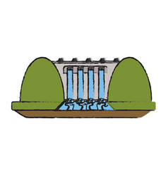 Hydroelectric plant surrounded by trees icon image vector