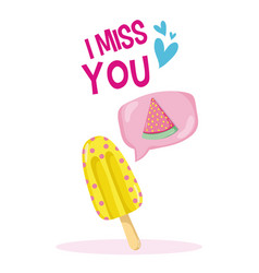 i miss you tropical card vector image