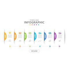 infographic 6 steps timeline diagram with quarter vector image