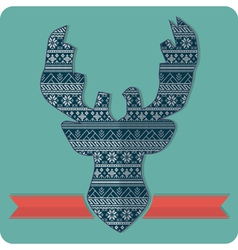 knitting deer pattern sweater vector image