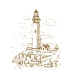 Lighthouse on the coast drawn by hand vector