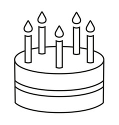 line art black and white birthday cake 5 candles vector image