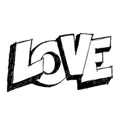 love 3d text doodle vector image
