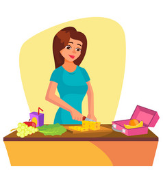 lunch box young woman making lunch in the vector image