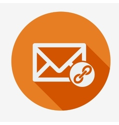 Mail icon envelope with chain Flat design vector image