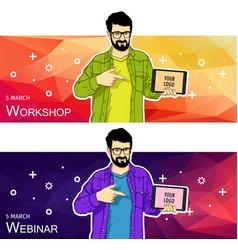 man presentation of mobile application startup vector image