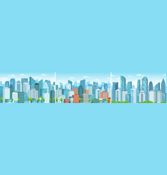 modern cityscape business district skyscrapers vector image