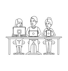 monochrome silhouette of teamwork sitting in desk vector image