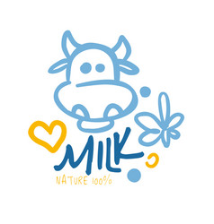 Nature milk product logo symbol colorful hand vector