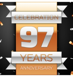 Ninety seven years anniversary celebration golden vector