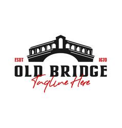 old bridge construction logo design vector image