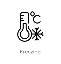 Outline freezing icon isolated black simple line vector