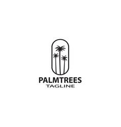 palm tree hipster vintage logo vector image