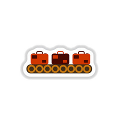 Paper sticker on white background suitcases vector