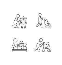 Parental involvement linear icons set vector