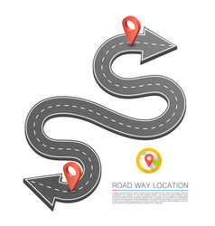 Paved path on the road road arrow location vector
