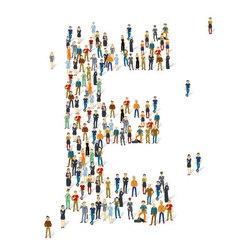 People crowd alphabet abc letter e vector