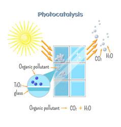 photocatalysis - titanium oxide catalyst under uv vector image