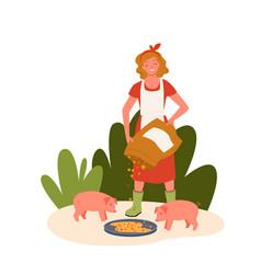 Pig farm livestock concept farmer agrarian woman vector