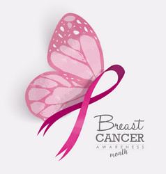 Pink ribbon with butterfly wings for breast cancer vector image