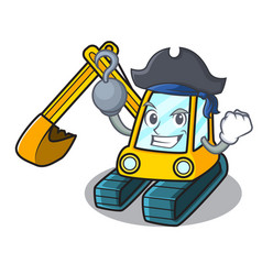 Pirate excavator character cartoon style vector