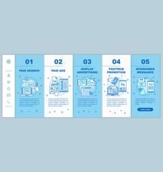Ppc channels onboarding mobile web pages template vector